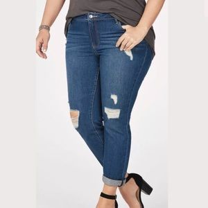 Distressed Slim Boyfriend Jeans Size: 24W